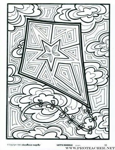 Stained glass-looking kite to color.