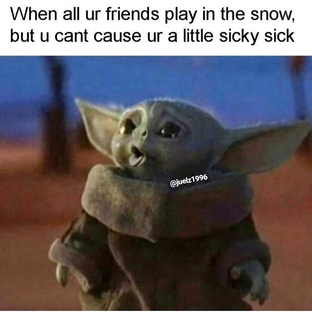 Julian Lehmann On Instagram Let S See If My Photoshoped Coughing Baby Yoda Goes Viral Share Animal Memes Star Wars Memes Yoda Meme