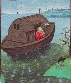 Noé envoie une colombe de l'arche; Jean DREUX; miniature dur vélin vers 1450; Museum Meermanno, La Haye Musée Meermanno La Haye