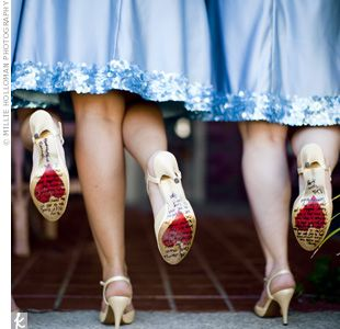 the bride wrote heartfelt messages on the bottom of the bridesmaids' shoes. i'm doing this for my wedding in 2 weeks.