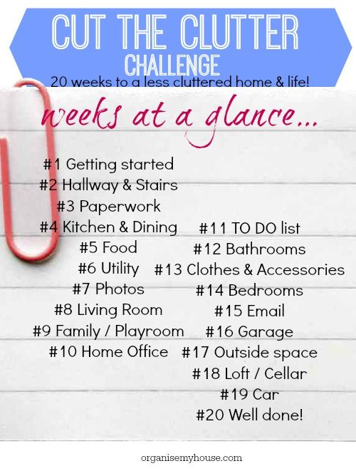 cut the clutter challenge weekly list - step by step to declutter your home - follow along today!