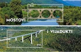 Limska Draga Viaduct :The Lim Channel bay cuts deep into the mainlandcroatia bridges stamps along the Limska Draga valley and extends for a length of 9 km, all the way to the City of Pazin. Around the 4th kilometre from the end of the bay, the A9 Highway (used to be State Road No. 21) crosses the valley on its viaduct that is 552 m long and rises 125 m above the valley floor.