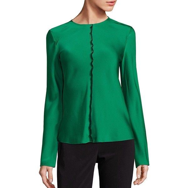 DKNY Virdian Stretch-Silk Top ($103) ❤ liked on Polyvore featuring tops, apparel & accessories, viridian, green long sleeve top, dkny tops, green top, long sleeve tops and dkny