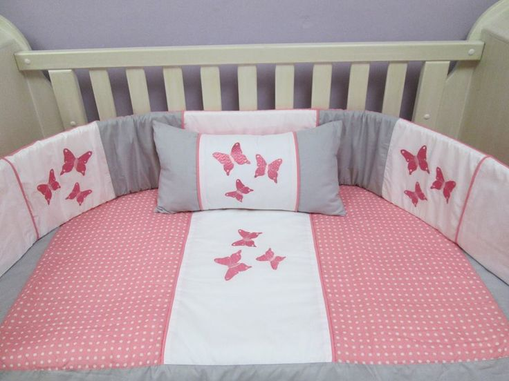 Butterfly baby quilt set - beautifully handcrafted in 100% cotton chambray. Made to fit large cot 1.3m X 66cm. To place an order or for more info and ideas please visit us on Facebook:  www.facebook.com/borderboutique.co.za