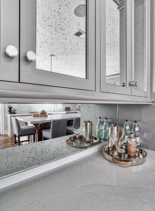 The Story Behind The Most Popular New Photo On Houzz In 2018 Grey Kitchen Designs Kitchen Design Mirrored Kitchen Cabinet