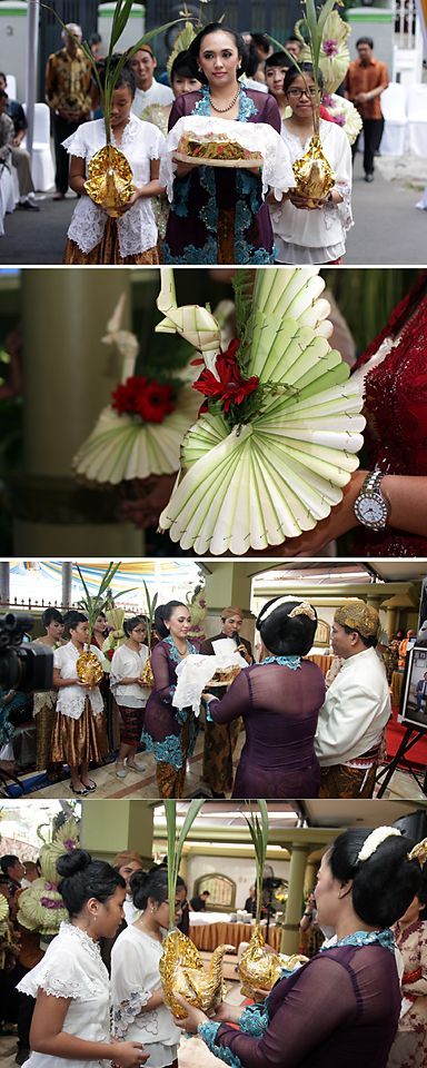 Panggih ceremony start with groom's family give bride's family pisang sanggan, 2 coconuts sprout and kembar mayang.