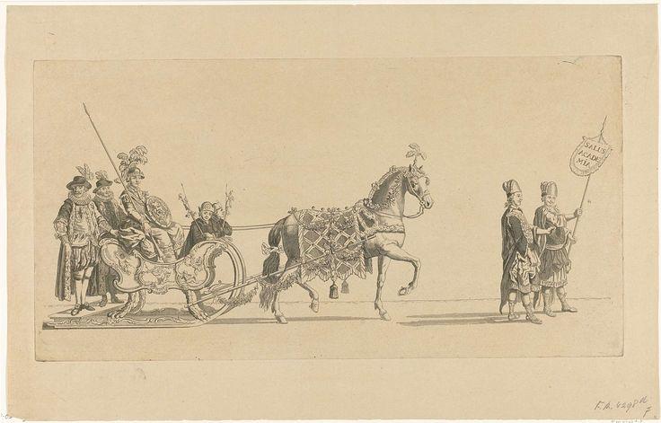 Nicolaas van der Worm | Zevende slede, Nicolaas van der Worm, Abraham Delfos, 1776 | De zevende slede in de optocht. Een slede met Minerva getrokken door een paard en voorafgegaan door twee personen in Griekse kleding. Onderdeel van een reeks van twaalf platen (etsdruk vóór het nummer en op ander papier) van de sledevaart op 24 januari 1776 georganiseerd door het Leidse genootschap Veniam Pro Laude bij gelegenheid van het Tweede Eeuwfeest van het Leids Ontzet (3 oktober 1574) en de…