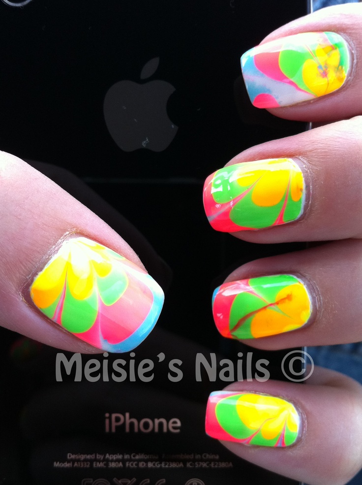 31dc2012 Day 10 Gradient Nails: 60 Best Neon Water Marble Nails Images On Pinterest