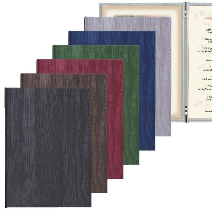 【貴店のロゴ名入れできます!】 落ち着いた木目模様と剛性に優れた重厚感が特徴のメニューブックです。 6種類のカラーをご用意いたしましたので、お店の雰囲気やランチ・ディナー等用途に合わせてぜひご利用下さい。 【FOREST-101】木目シリーズメニューブック A4/4ページ/メニューピン/12ページまで増減可