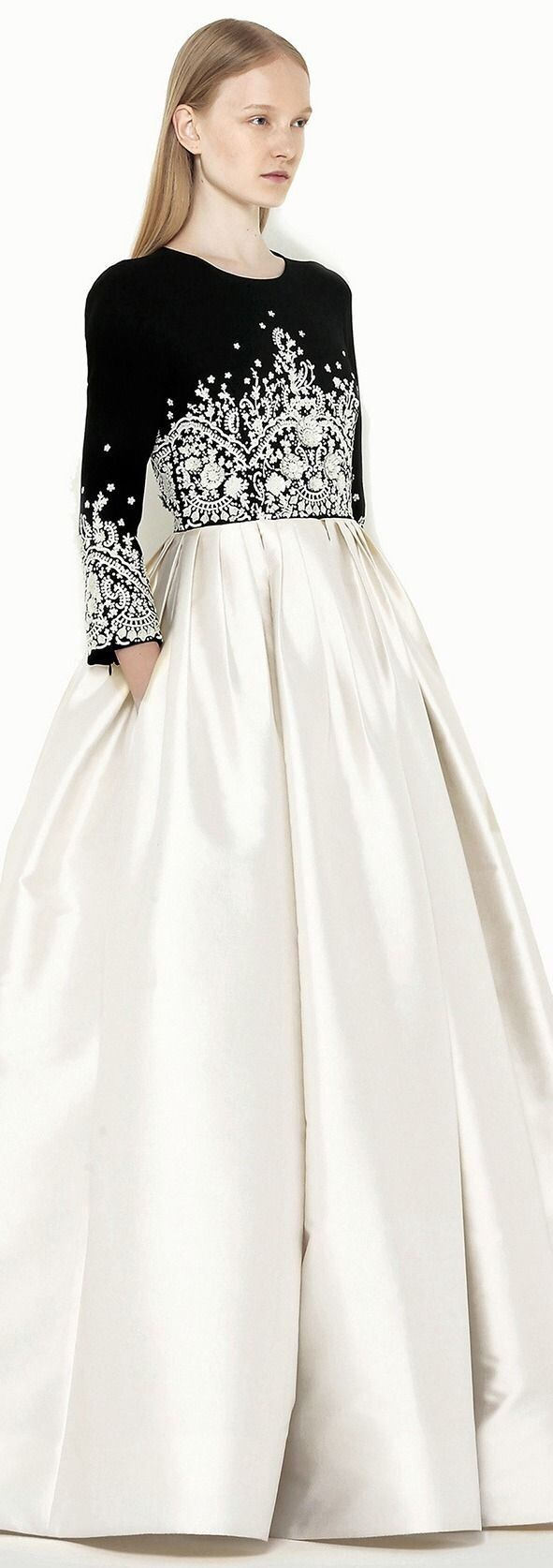 Andrew Gn ~ Resort Elegance - White Embroidered Bodice over White w Ball Room style White Skirt, 2014