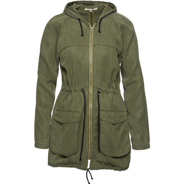 Wunderwerk tencel parka jacket found on Polyvore featuring outerwear, jackets, lightweight jackets, light weight jacket, tencel jacket, green jacket and green parkas