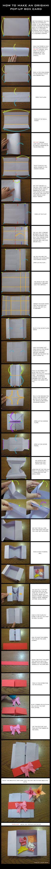 Caixa envelopeCaixa Envelopes, Crafts Ideas, Origami Tutorials, Origami Boxes, Pop Up Boxes Envelopes, Origami Cards Tutorials, Envelopes Cards, Boxes Cards, Origami Pop Up
