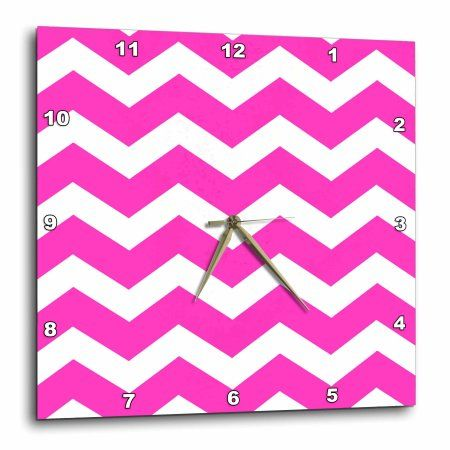 3dRose Girly hot pink and white zig zag chevron pattern - bright zigzags, Wall Clock, 15 by 15-inch