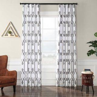 Exclusive Fabrics Royal Gate Buff & Silver Flocked Faux Silk Curtain (50 X 108), White