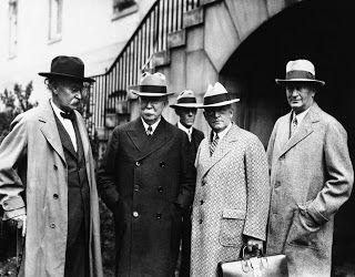 The Teapot Dome Scandal prostrated the Harding Administration, and ruined his Sec. of Interior Albert Fall (far left) when he went to prison. Fall and his attorney Mark B. Thompson (far right) thread through our home. The two men were courtroom adversaries in the Sheriff Pat Garrett murder trial in 1909, Thompson the prosecuting attorney and Fall the counsel for defense. Former owner of our property Judge Frank Parker presided over the trial. Thompson married the daughter of our home's…