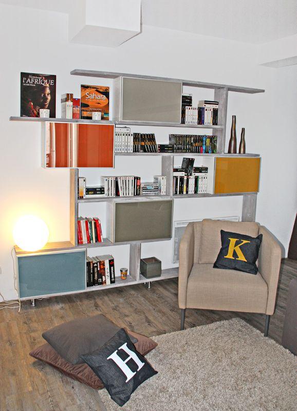 ikea hack biblioth que sur mesure r alis e avec des caissons ikea besta portes vitr es. Black Bedroom Furniture Sets. Home Design Ideas