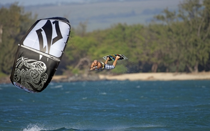 Kiteboarding in action