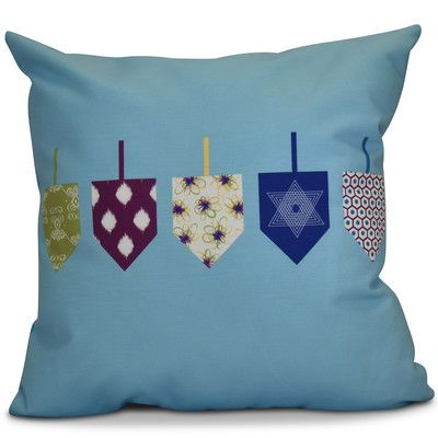 """The Holiday Aisle Hanukkah 2016 Decorative Holiday Geometric Outdoor Throw Pillow Color: Light Blue, Size: 20"""" H x 20"""" W x 2"""" D"""