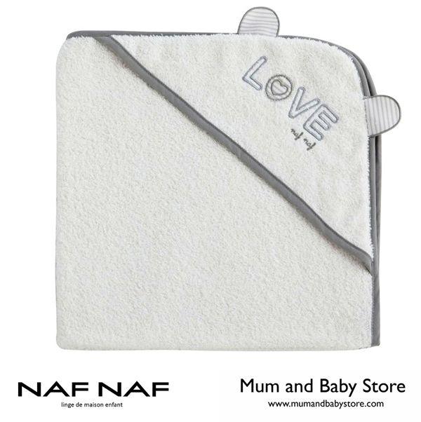 Baby towel with hood 75 x 75 cm NAF NAF - LOVE GREY