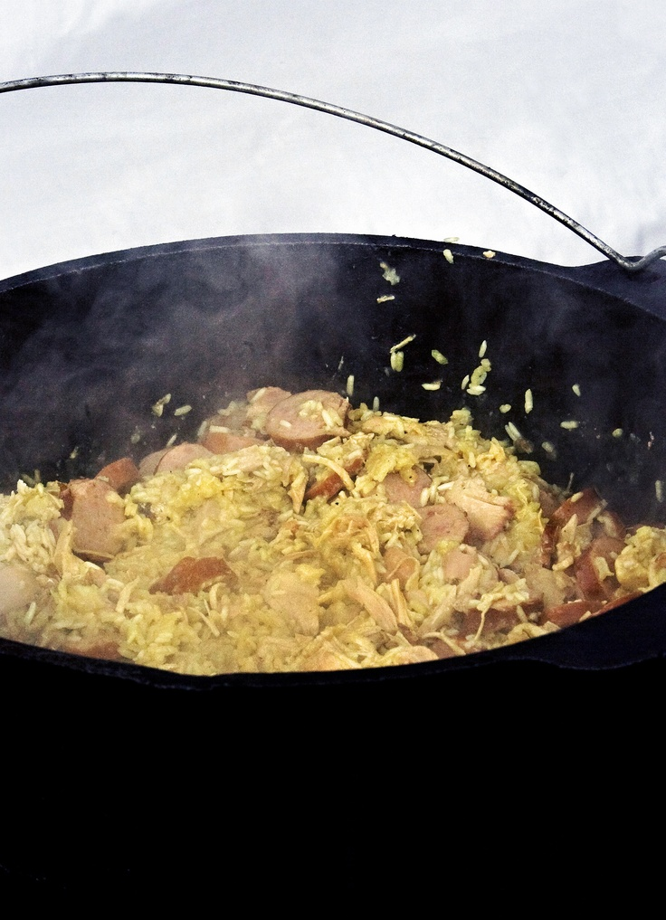 Chicken bog is a coastal South Carolina delicacy with chicken, sausage, and rice.
