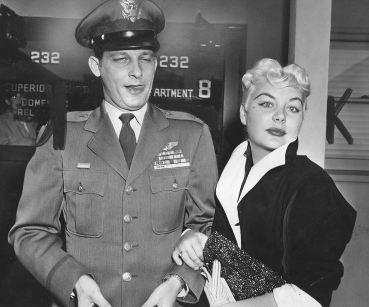 Barbara Payton and husband John Lee Payton after a court