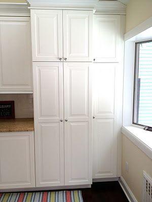 Kitchen renovation using Ikea Lidingo | Remodelaholic...nice way to add lockers into kitchen area.
