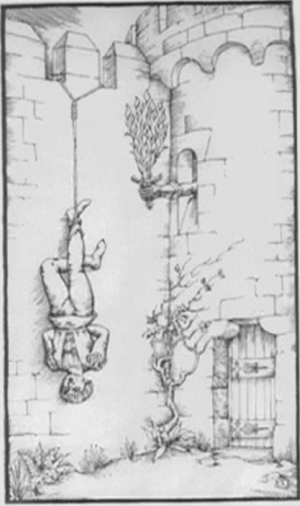 """Ⅵ. Sixth Gate """"I enrich myself with death""""    A hanged man, similar to that of the Tarot, his  hands behind his back, hung by one foot from  the crenellation of the wall surrounding a castle,  next to a closed postern gate. A hand clad in a  gauntlet brandishes a burning sword from a loophole."""