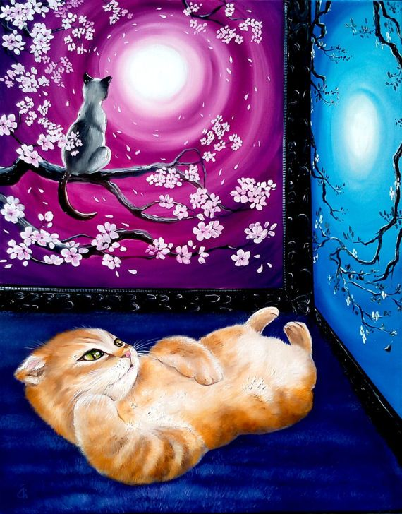 Oil painting, Painting on canvas, Animals, Cat, Original painting, Cats art, Abstraction  The picture without frame, the size - 40 х 50 cm (15.7 х 19.7 inches) Materials: oil on canvas. Author - Olga Derevoriz. This picture will be a wonderful addition to your interior, attracting admiring glances all around! It perfectly fits into a modern interior, and can also become a bright gift on any holiday! Importantly, do not forget that with good storage and proper care, art will make you happy…