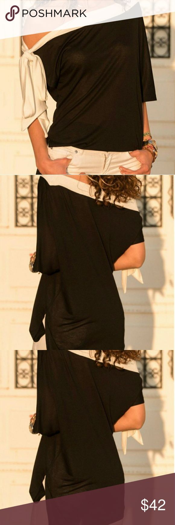 Open sholder black and white top Tie Skew Neck Slit Side T-Shirt boutique Tops -…