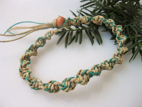 Mens Hemp Ankle Bracelet or Bracelet Green by EclecticCraftVenue