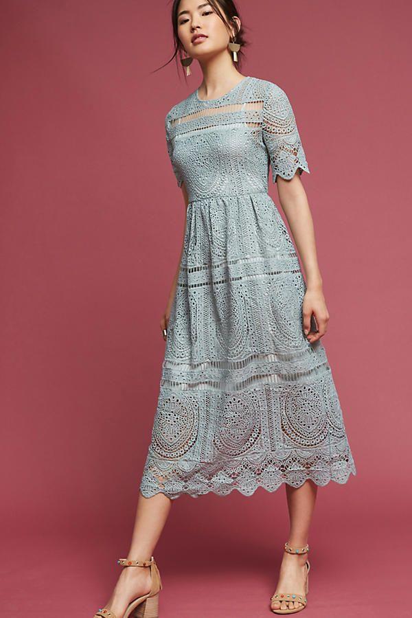 Slide View: 1: Mint Lace Midi Dress