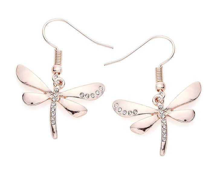 Rose+Gold+Plate+Dragonfly+Earrings+from+ClutchandClasp+by+DaWanda.com