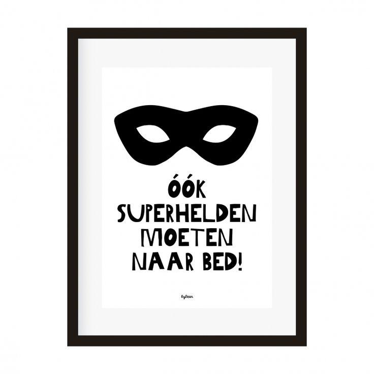 Poster A4 Ook superhelden moeten naar bed! (Bedman)