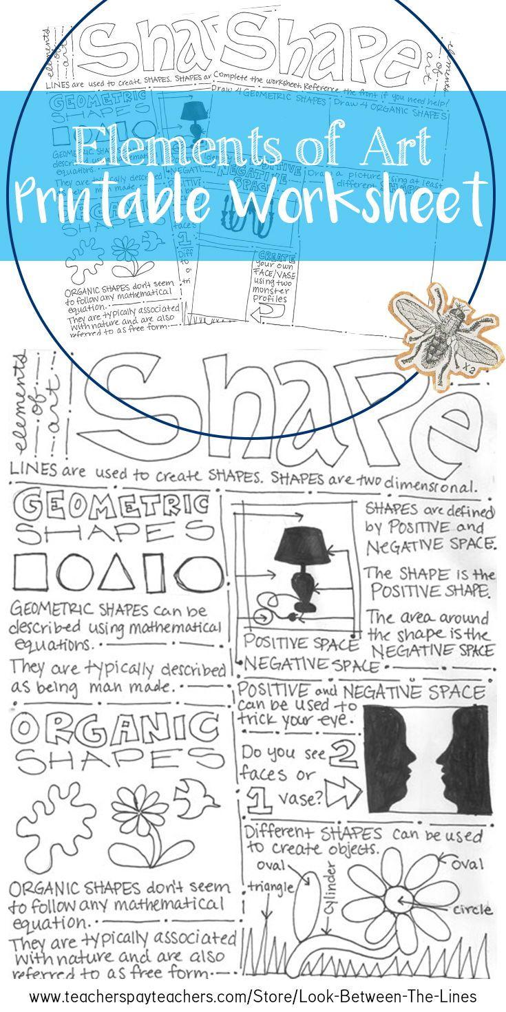 shape elements of art printable worksheet, middle school art or high