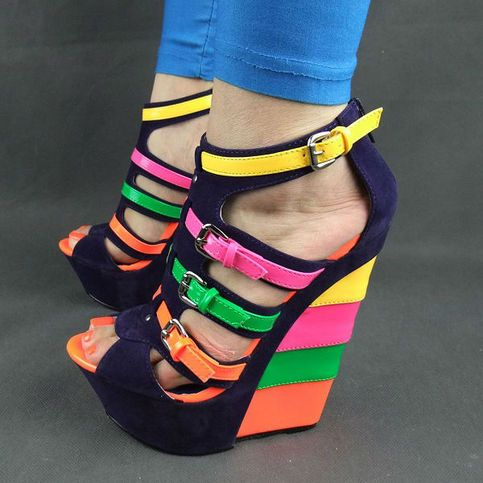 Multi Colored Blue Candy #Wedge Leather Material Rubber Outsole Material ~6 inches heel height ~1 inch platform height  Size Guide US5.0=UK3=EUR36=23.0cm US6.0=UK4=EUR37=23.5cm US7.0=UK5=EUR38=24.0cm US8.0=UK6=EUR39=24.5cm US9.0=UK7=EUR40=25.0cm US10.0=UK8=EUR41=25.5cm