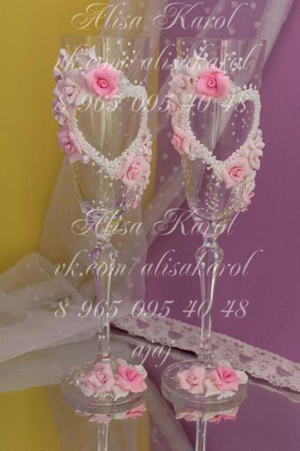 Wedding champagne glasses toasting flutes champagne by AlisaKarol, $65.00