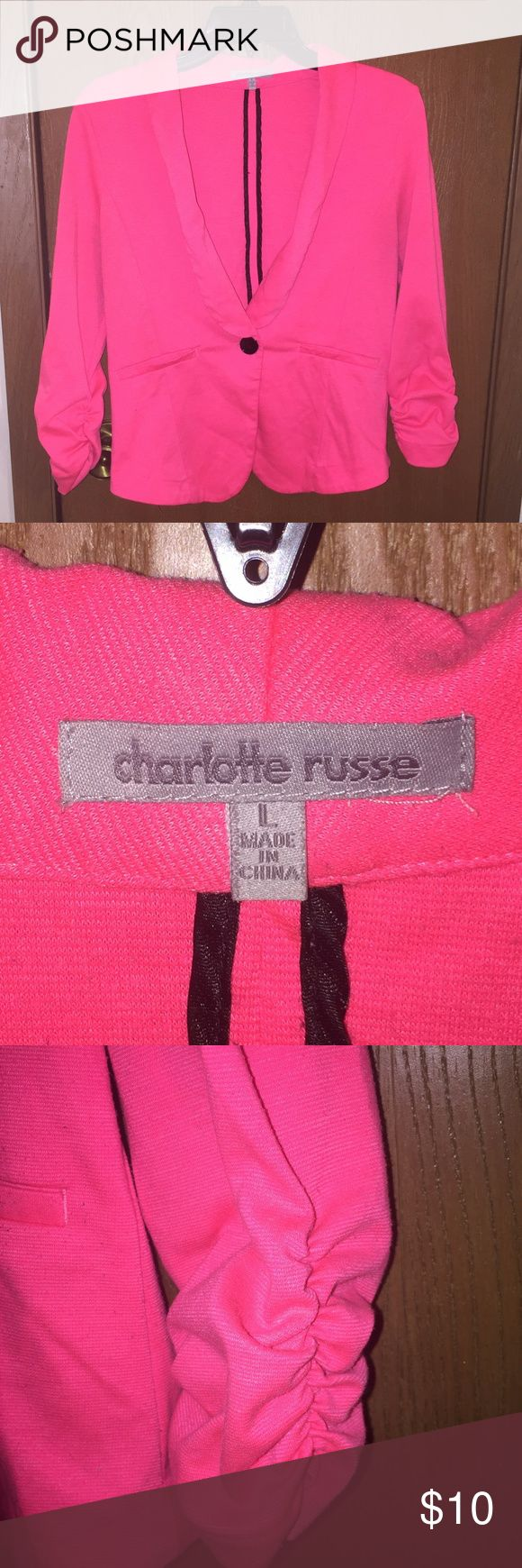 Charlotte Russe hot pink blazer Charlotte Russe hot pink blazer. Size large. It's very soft & flexible with cinched sleeves and a single black button. Charlotte Russe Jackets & Coats Blazers