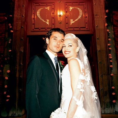 """Gwen Stefani and Gavin Rossdale dated for six transcontinental-hopping years before Rossdale finally popped the question on New Year's Day 2002. On September 14th of that same year, modern music's most famous front-woman and her British beau exchanged vows during a traditional Anglican service at St. Paul's Covent Garden in London. The bride arrived an hour late for the ceremony, but for the groom she was well worth the wait. """"God bless Gwen,"""" Rossdale has said. """"She has saved me in so many…"""