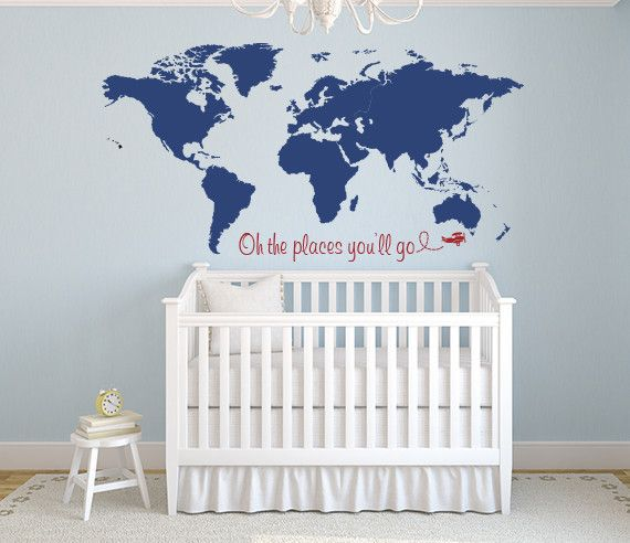Nursery World Map Wall Decal - Nursery Map Decor - Oh the places you'll go quote - By LovelyDecals - On Sale Now!! Check it out!!