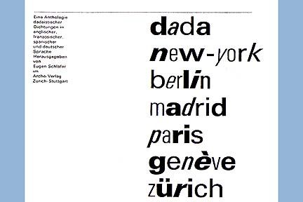 Emil Ruder, Book jacket for an anthology of Dada poetry, 1967.