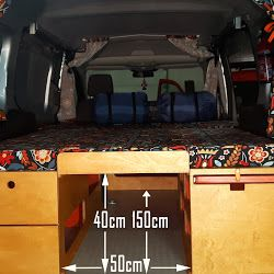 Ford Transit Connect. Storage under the sleeping area.