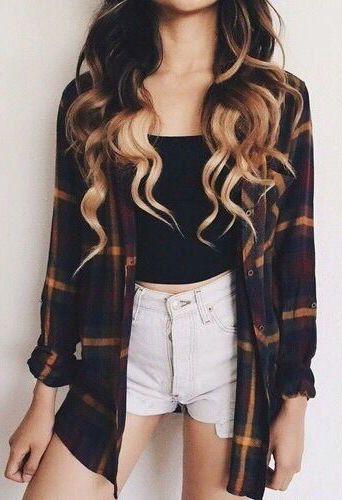 #fall #fashion / tartan knit shirt