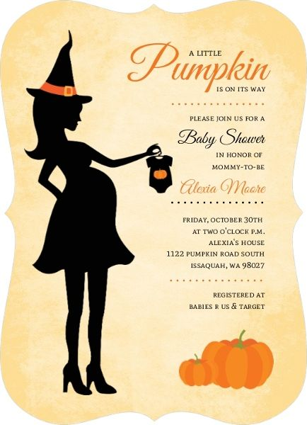 Witch Silhouette Pumpkin Baby Shower Invitations by inviteshop.com. #babyshowerinvitations #halloweenbabyshowerinvitations