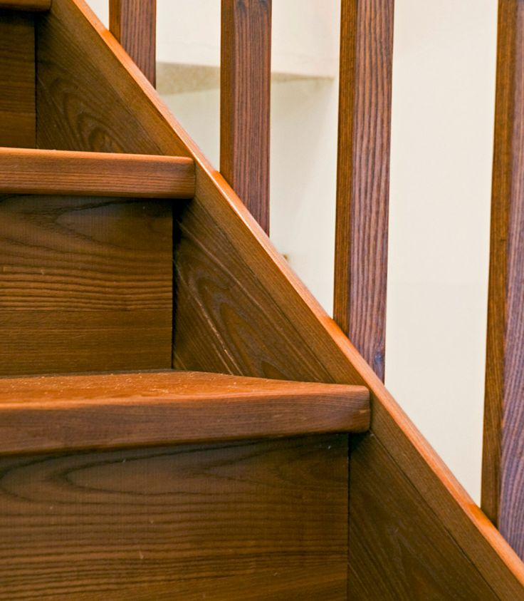 Wooden staircase made from eco-friendly Arborwood thermally modified wood distributed by Intectural.