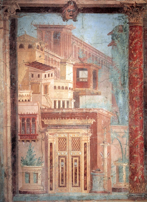 Fresco. example of herringbone perspective: A type of perspective in which the lines of projection converge not on a vanishing point, but on a vertical axis at the center of the picture