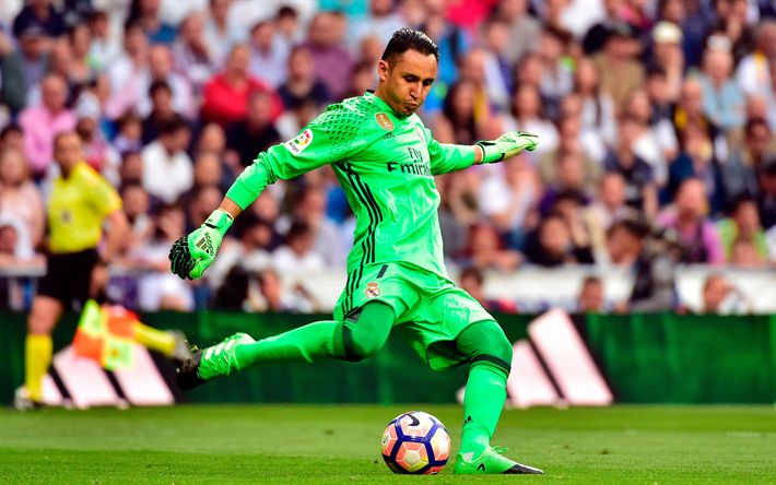 Download wallpapers Keylor Navas, Real Madrid, 4k, football, La Liga, match, goalkeeper