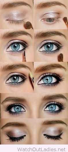 If you have eyes like the sky, you need to pop those gems up! One way to make your blue eyes highlight is wearing rose glitter eyeshadow or a metallic one.