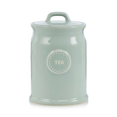This storage jar from Ashley Thomas comes in pale green, crafted from porcelain with a 'Tea' slogan on the front.