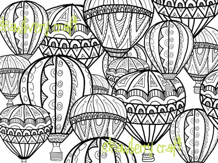 Hot Air Balloon Coloring Page, Coloring Page, Intricate