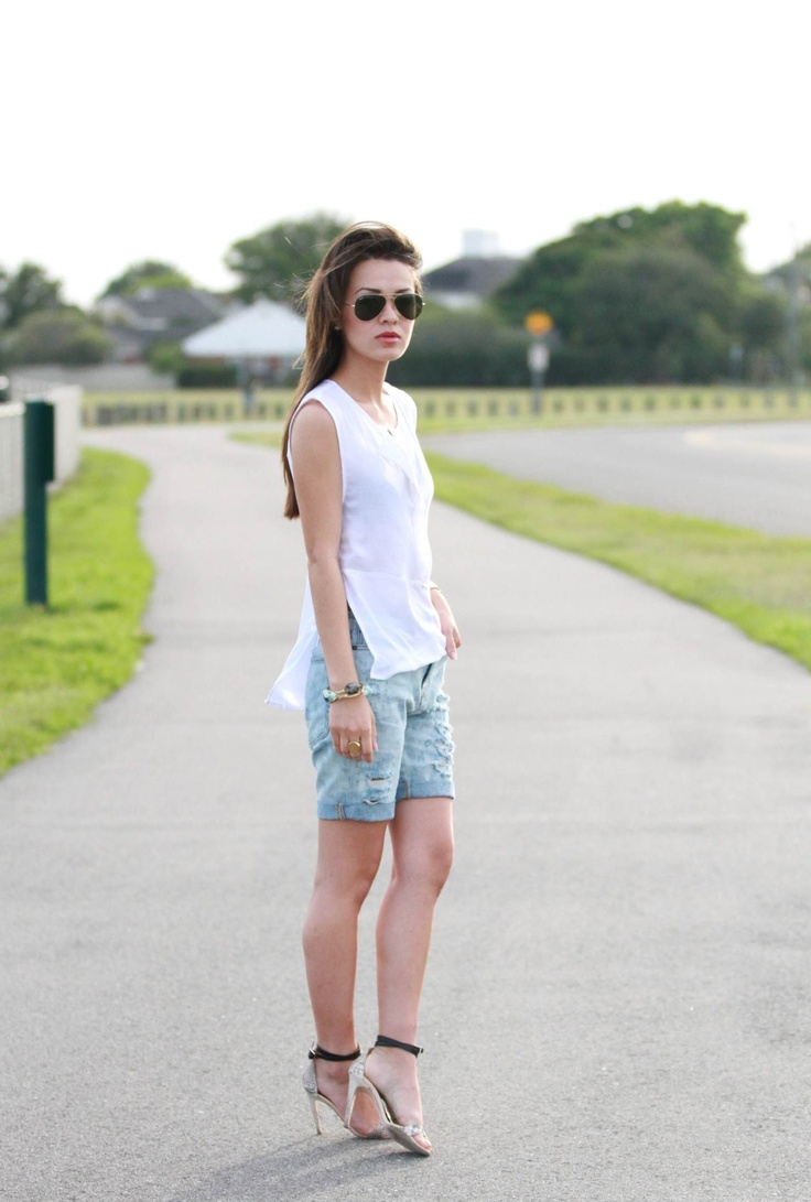 Your Outfit Today » Outfit : denim baggy shorts, May 6 2013  Outfit : White top : Urban Outfitters Bralette : Urban Outfitters Denim shorts : Urban Outfitters Heels : Tibi Bracelets : Bourbon and Boweties